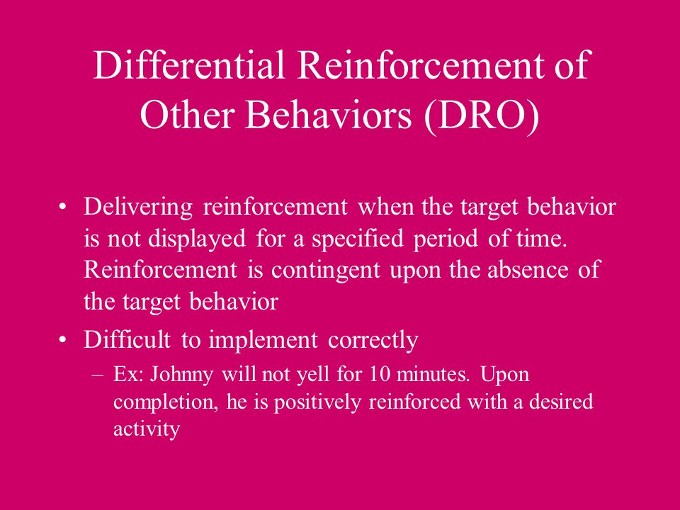 Differential Reinforcement of Other Behaviors (DRO)