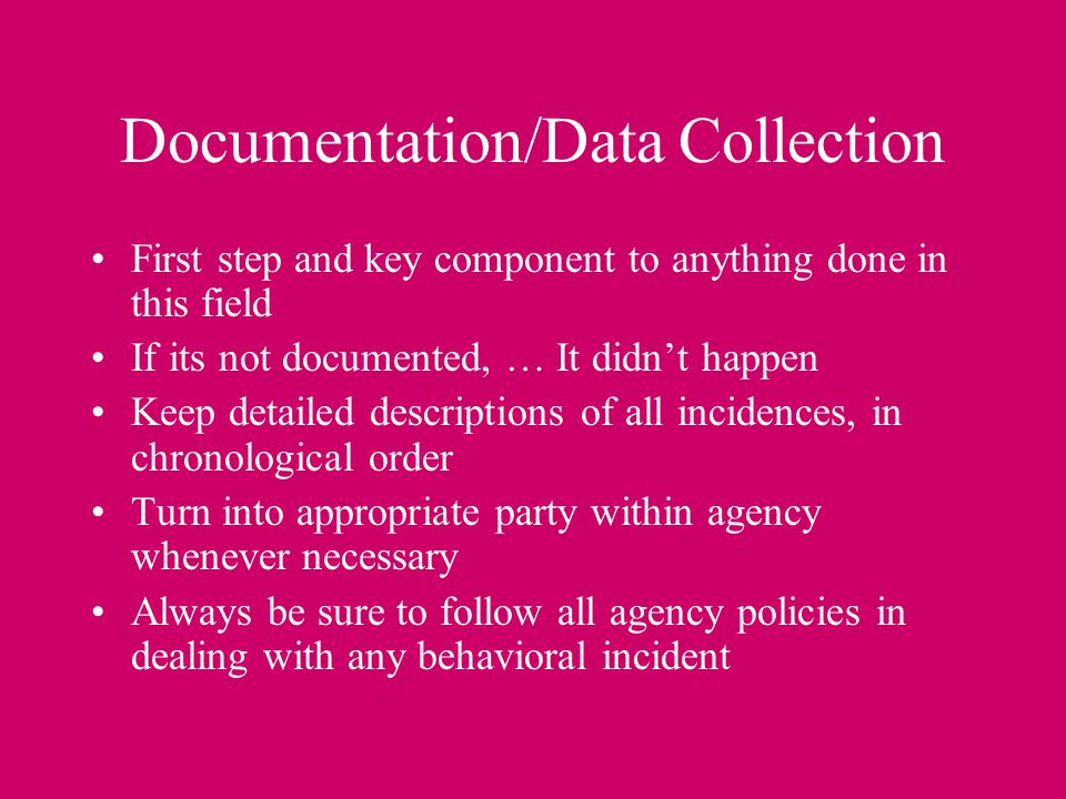 Documentation/Data Collection