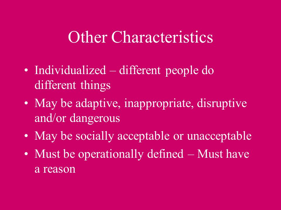 Other Characteristics