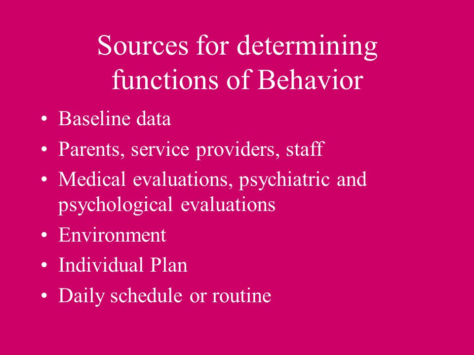 Sources for determining functions of Behavior