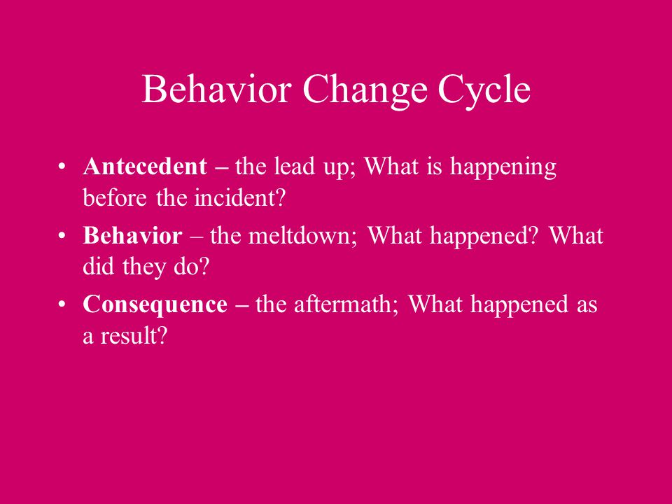 Behavior Change Cycle Antecedent – the lead up; What is happening before the incident Behavior – the meltdown; What happened What did they do