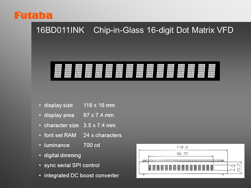 16BD011INK Chip-in-Glass 16-digit Dot Matrix VFD