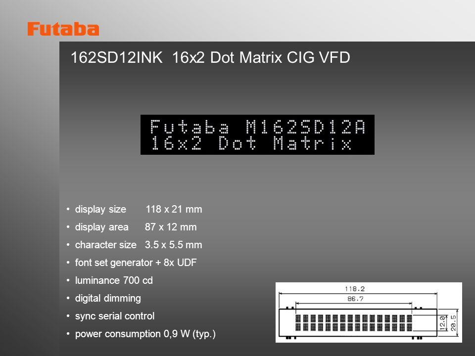 162SD12INK 16x2 Dot Matrix CIG VFD
