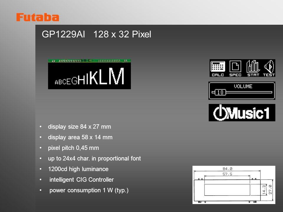 GP1229AI 128 x 32 Pixel display size 84 x 27 mm
