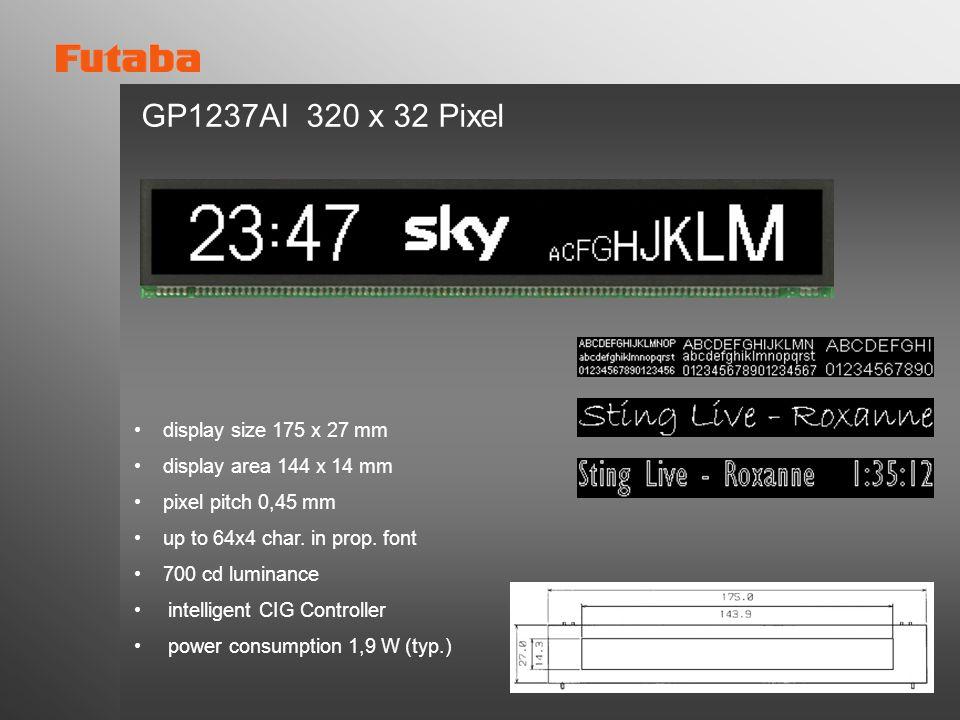 GP1237AI 320 x 32 Pixel display size 175 x 27 mm