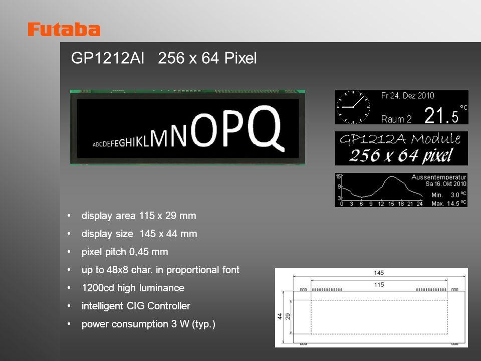 GP1212AI 256 x 64 Pixel display area 115 x 29 mm
