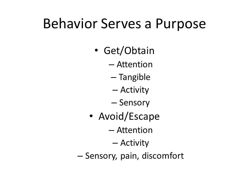 Behavior Serves a Purpose