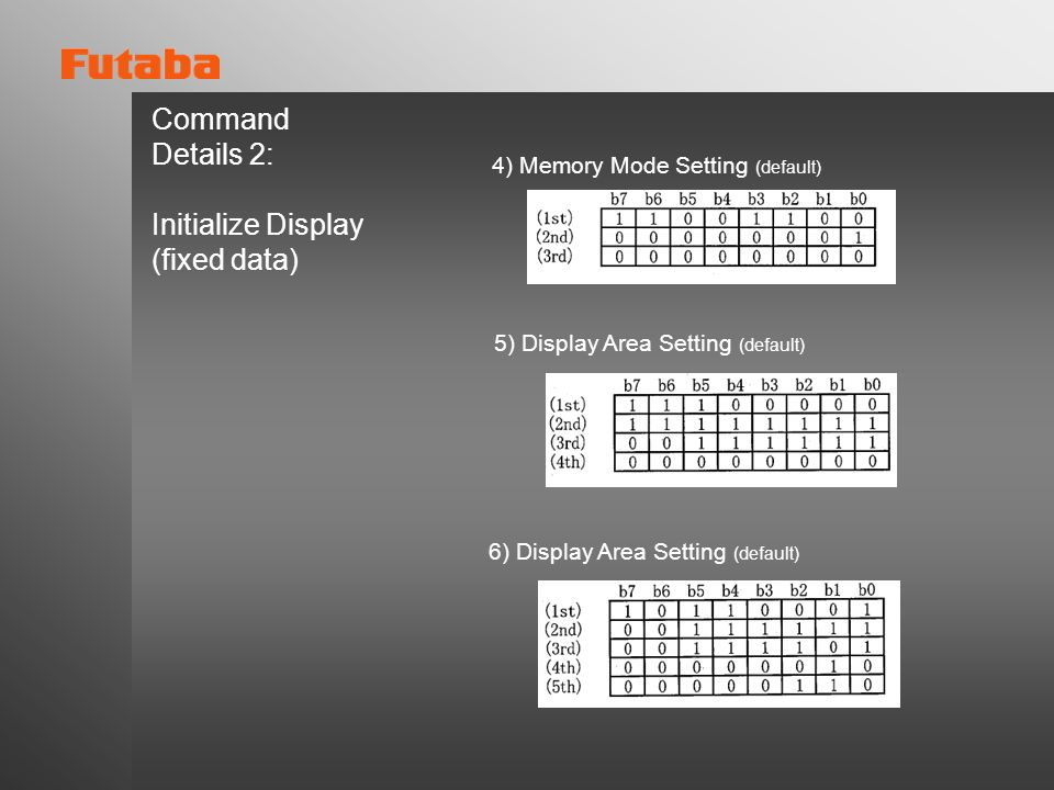 Command Details 2: Initialize Display (fixed data)
