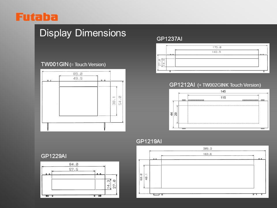 Display Dimensions GP1237AI TW001GIN (= Touch Version)