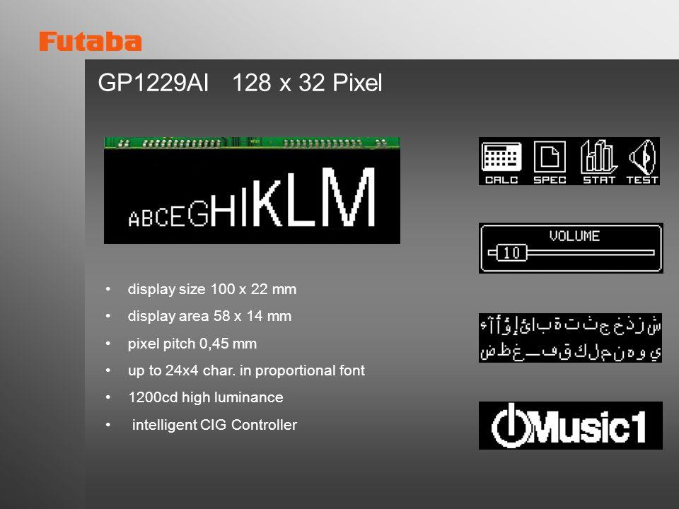 GP1229AI 128 x 32 Pixel display size 100 x 22 mm