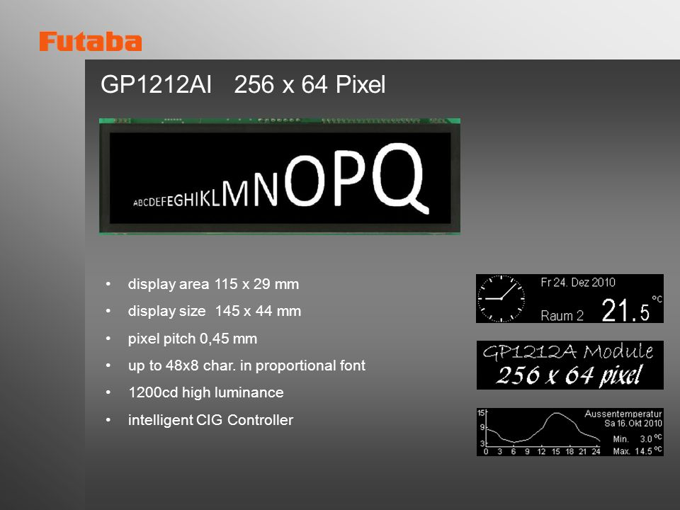 GP1212AI 256 x 64 Pixel display area 115 x 29 mm