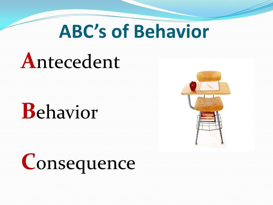 Antecedent Behavior Consequence ABC's of Behavior
