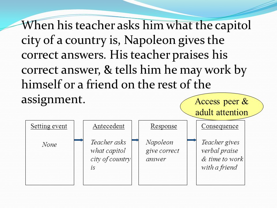 When his teacher asks him what the capitol city of a country is, Napoleon gives the correct answers. His teacher praises his correct answer, & tells him he may work by himself or a friend on the rest of the assignment.