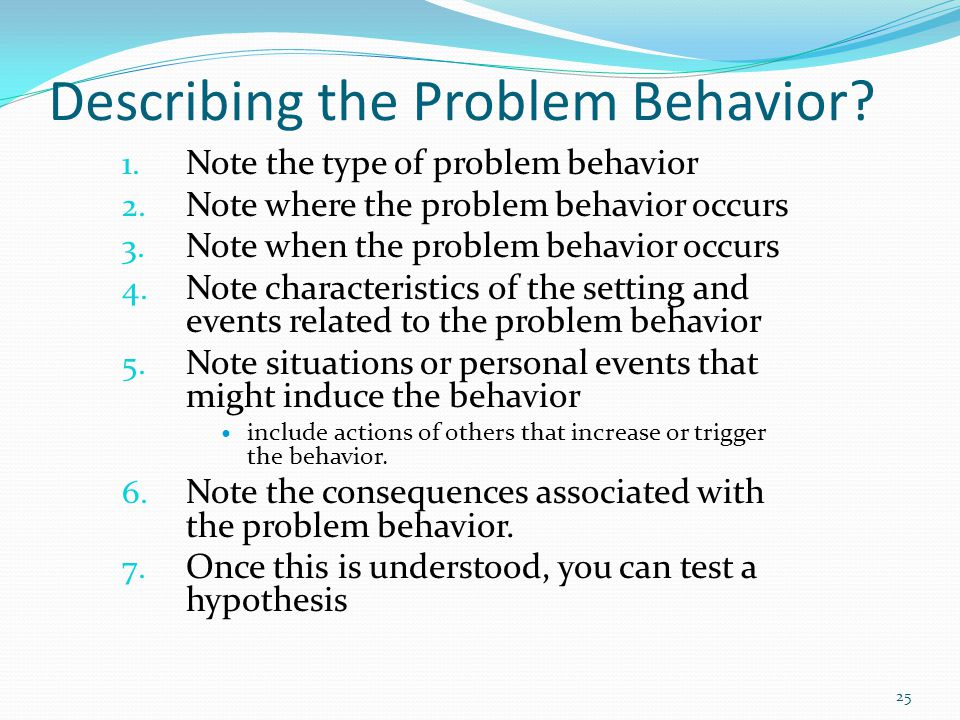 Describing the Problem Behavior