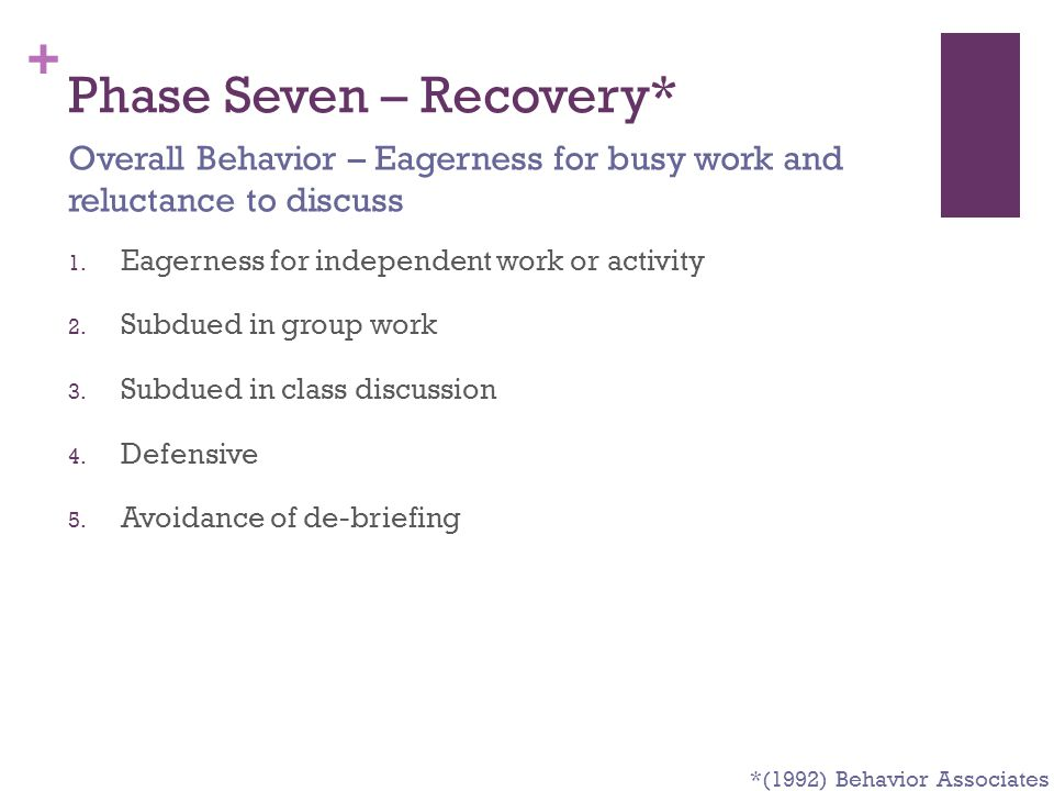Phase Seven – Recovery*