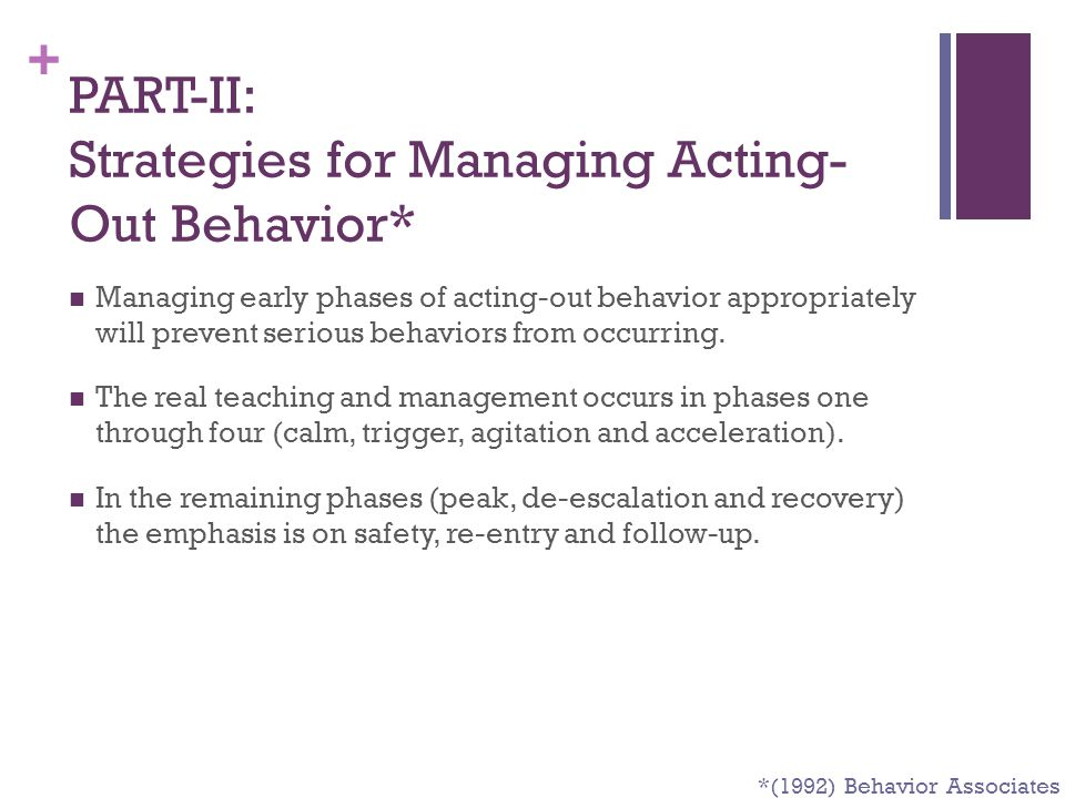 PART-II: Strategies for Managing Acting-Out Behavior*