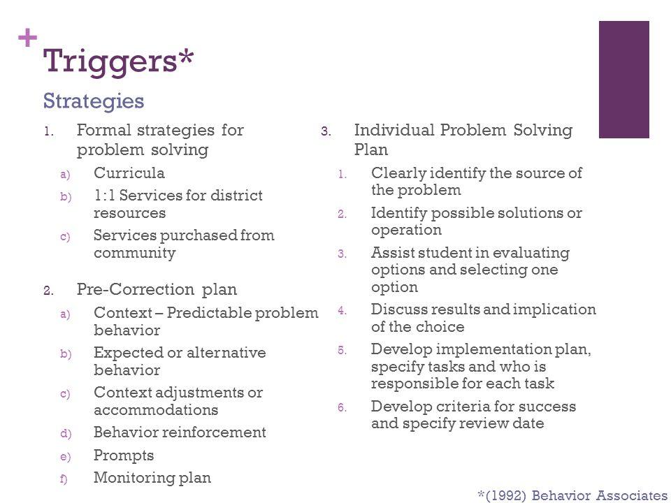 Triggers* Strategies Formal strategies for problem solving
