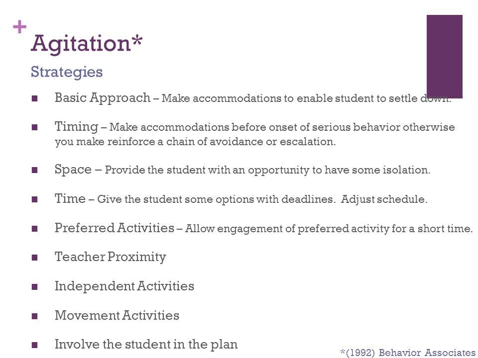 Agitation* Strategies
