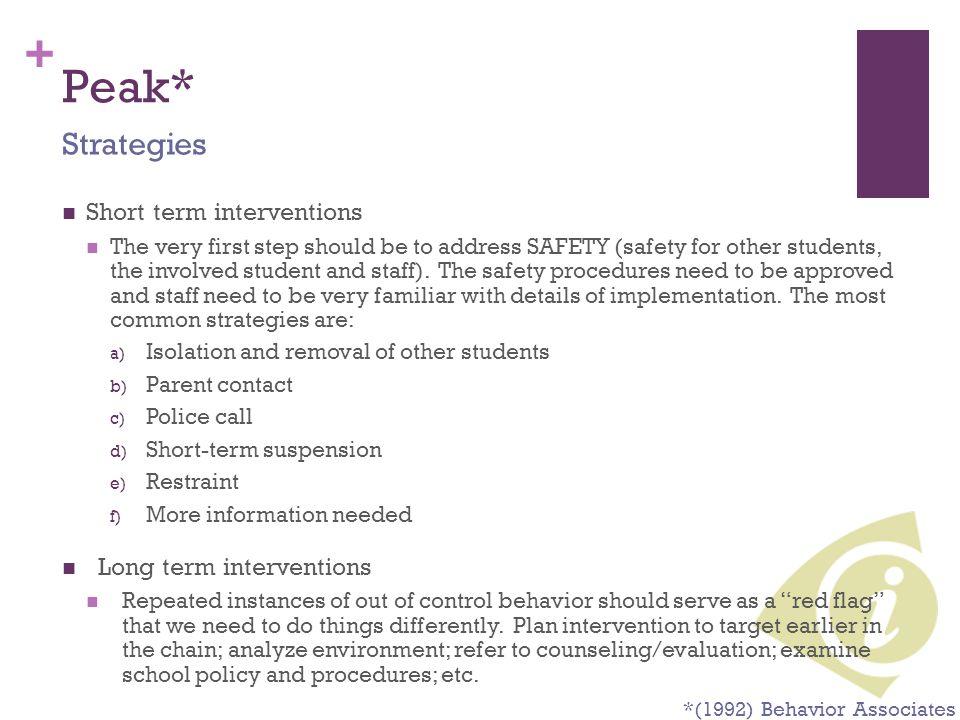 Peak* Strategies Short term interventions Long term interventions
