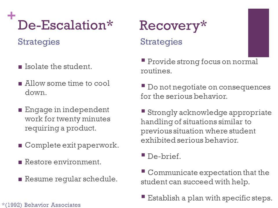 De-Escalation* Recovery* Strategies Strategies