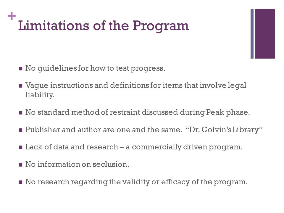 Limitations of the Program