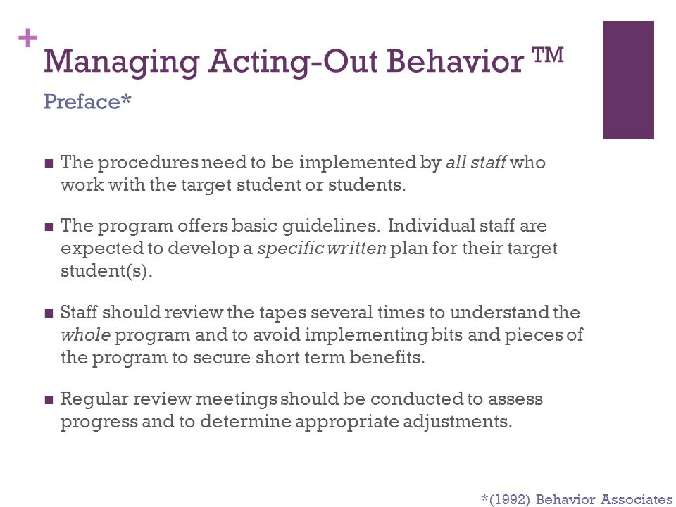 Managing Acting-Out Behavior TM