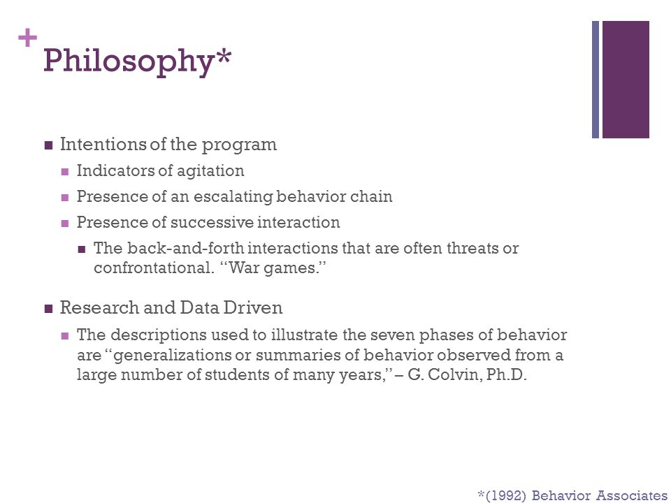 Philosophy* Intentions of the program Research and Data Driven