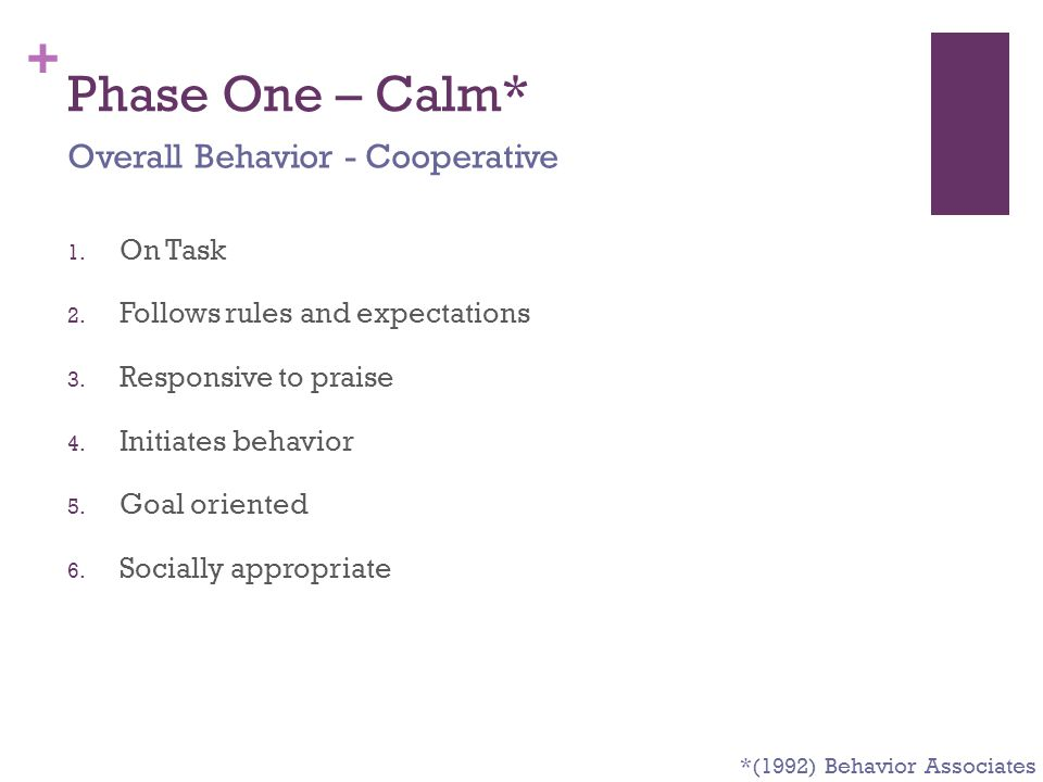 Phase One – Calm* Overall Behavior - Cooperative On Task