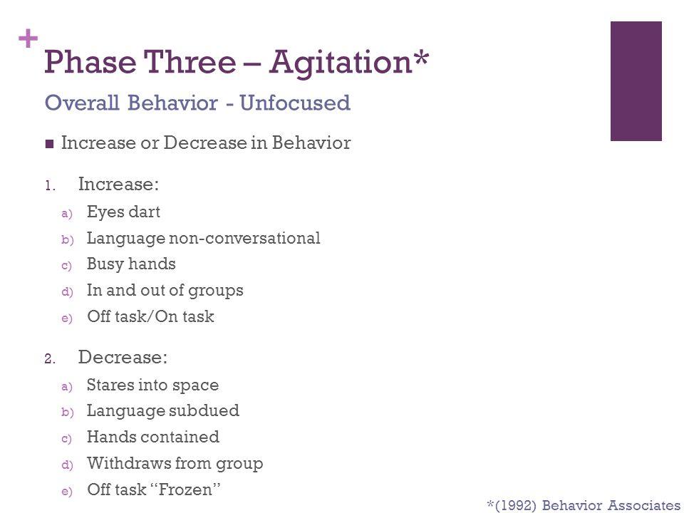 Phase Three – Agitation*