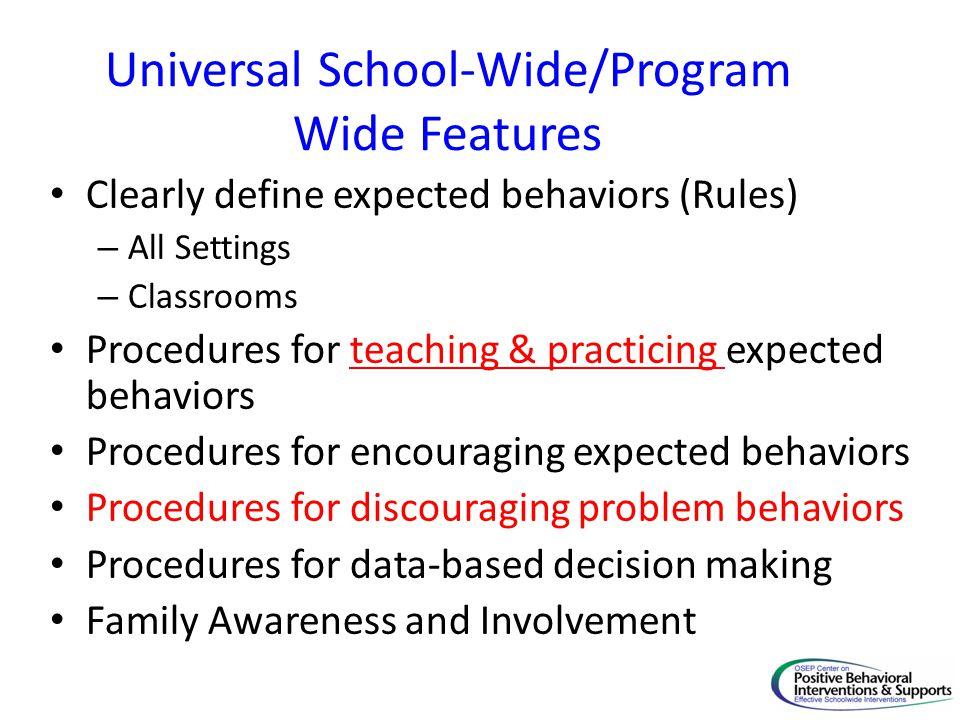 Universal School-Wide/Program Wide Features