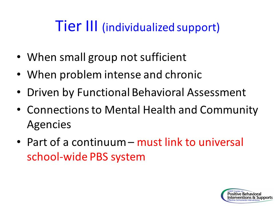 Tier III (individualized support)