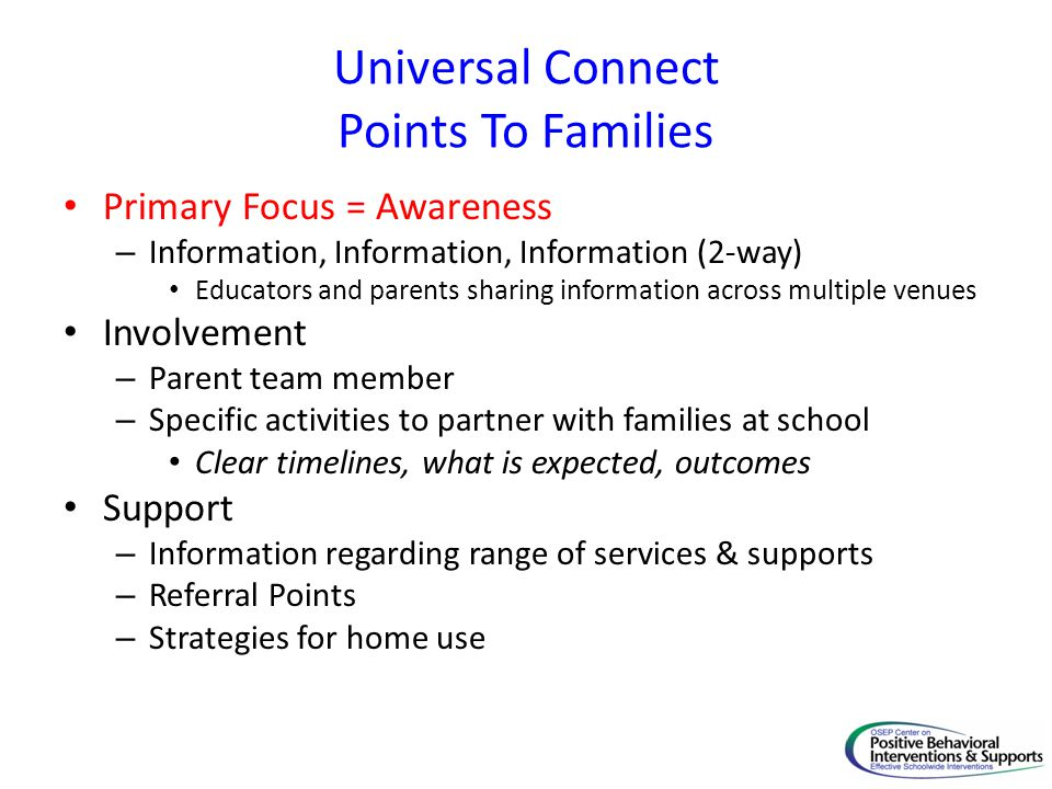 Universal Connect Points To Families