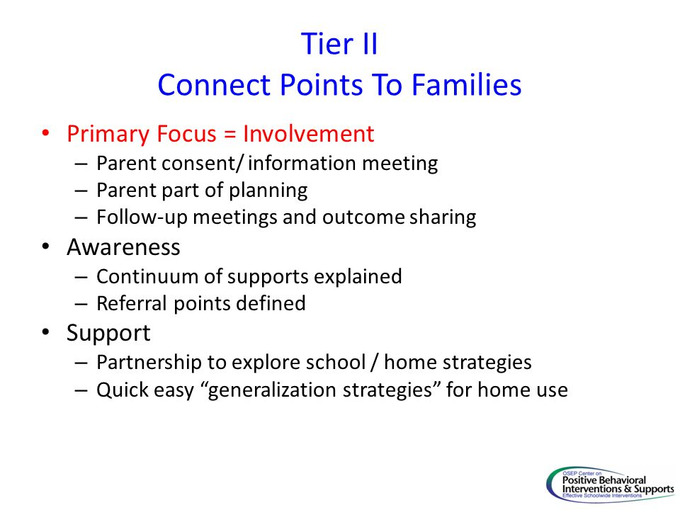 Tier II Connect Points To Families