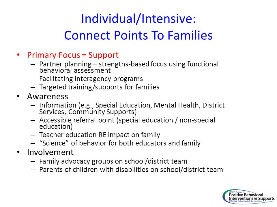Individual/Intensive: Connect Points To Families