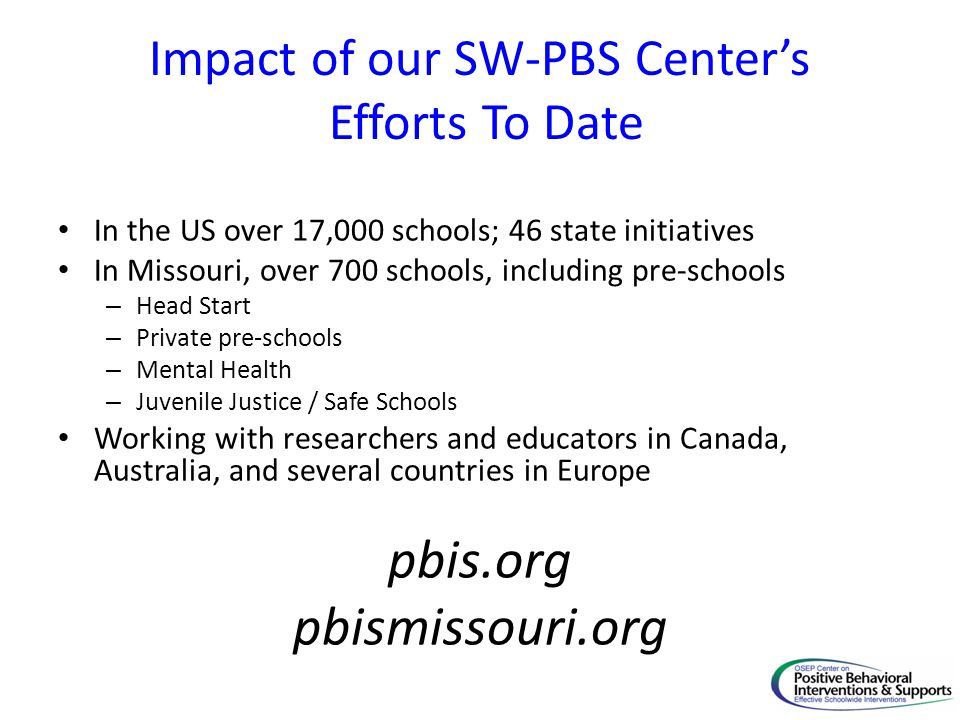 Impact of our SW-PBS Center's Efforts To Date