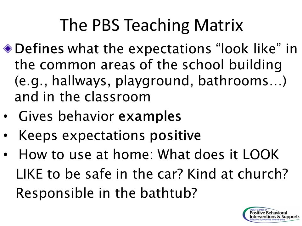 The PBS Teaching Matrix