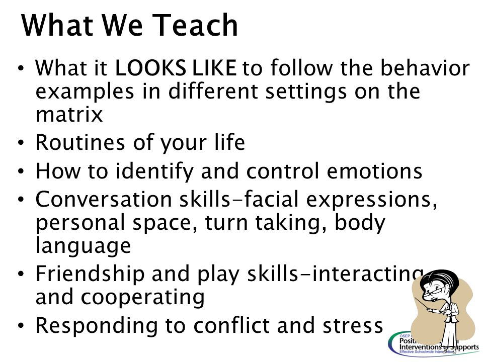 What We Teach What it LOOKS LIKE to follow the behavior examples in different settings on the matrix.