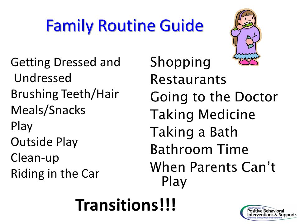 Family Routine Guide Transitions!!! Getting Dressed and Shopping