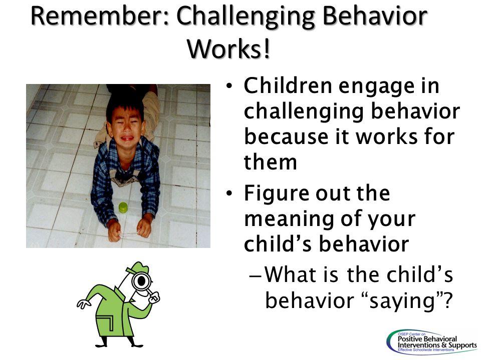 Remember: Challenging Behavior Works!