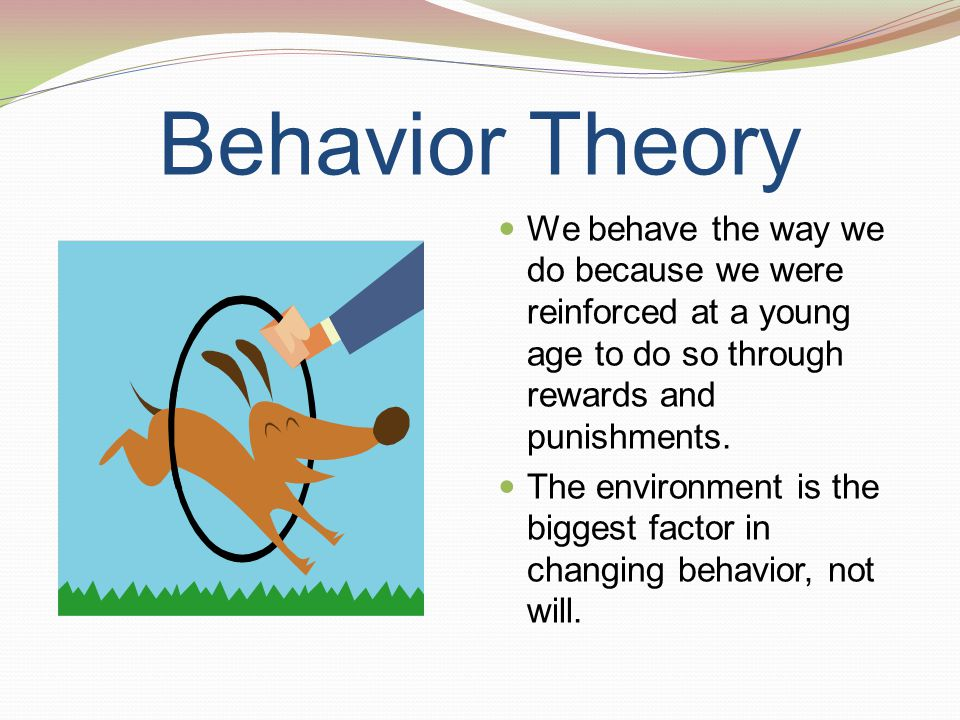 Behavior Theory We behave the way we do because we were reinforced at a young age to do so through rewards and punishments.