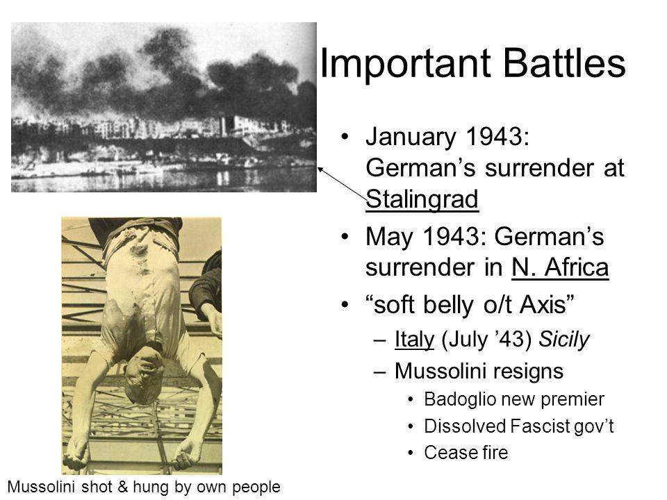 Important Battles January 1943: German's surrender at Stalingrad