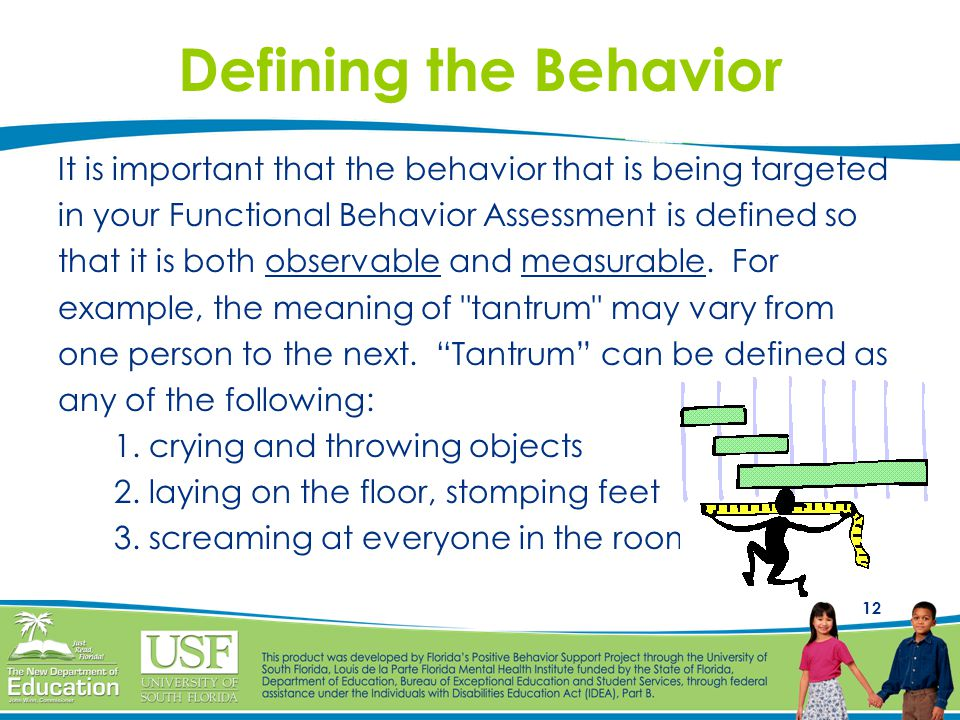Defining the Behavior It is important that the behavior that is being targeted. in your Functional Behavior Assessment is defined so.