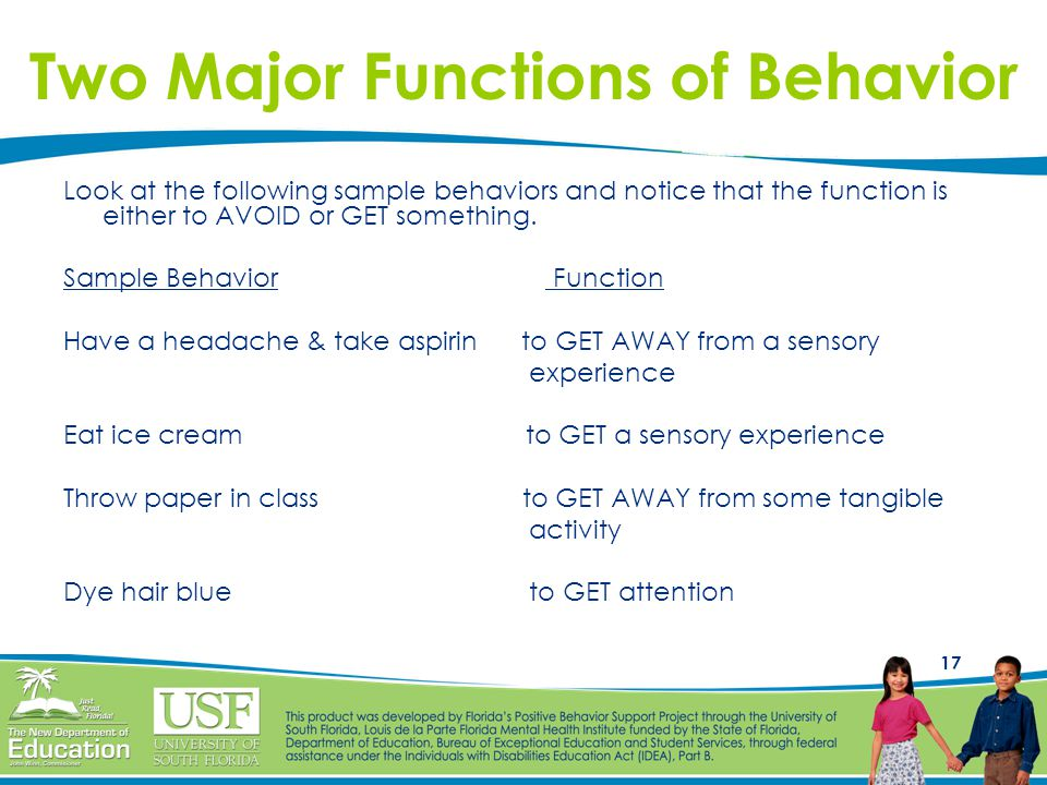 Two Major Functions of Behavior