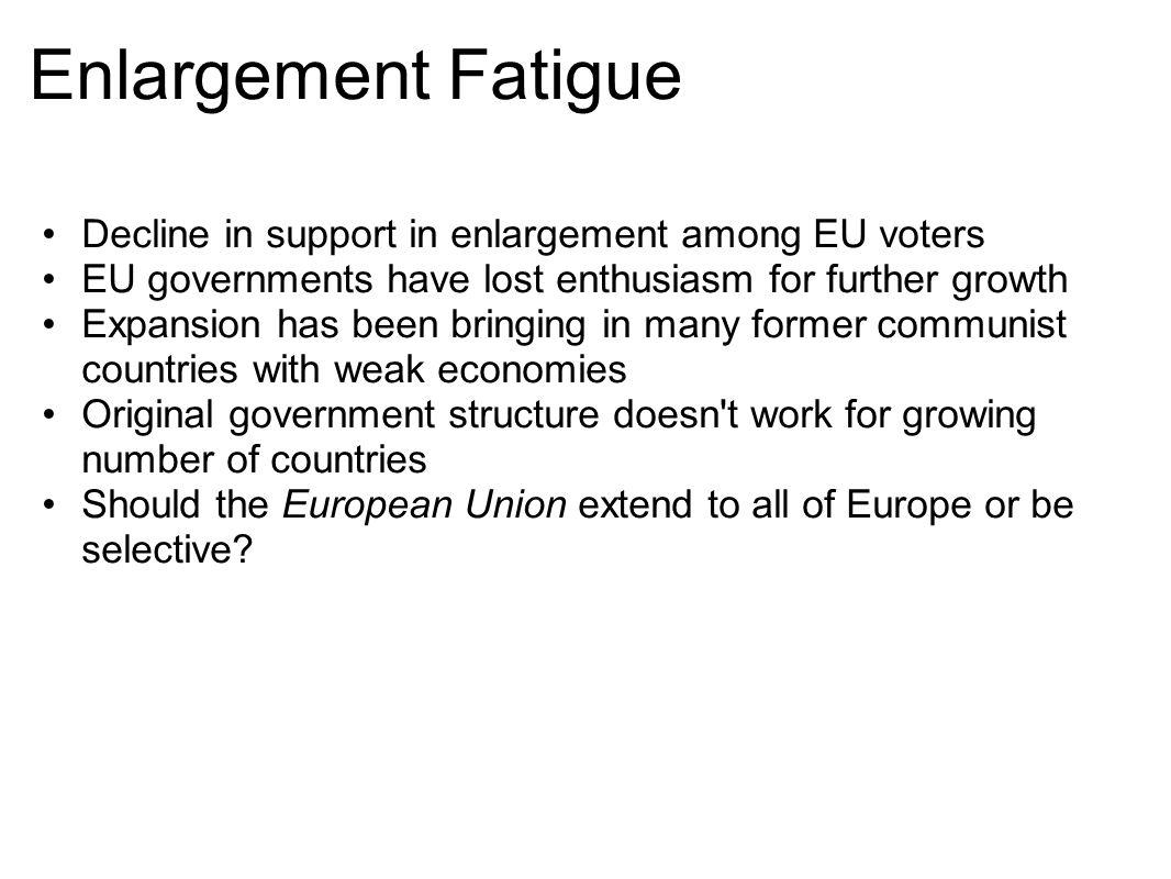 Enlargement Fatigue Decline in support in enlargement among EU voters