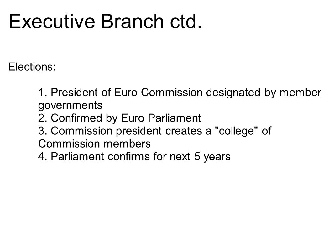 Executive Branch ctd. Elections: