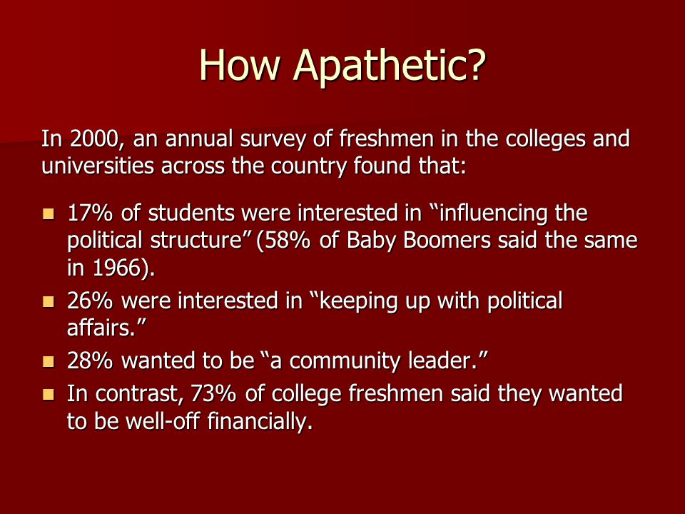 How Apathetic In 2000, an annual survey of freshmen in the colleges and universities across the country found that: