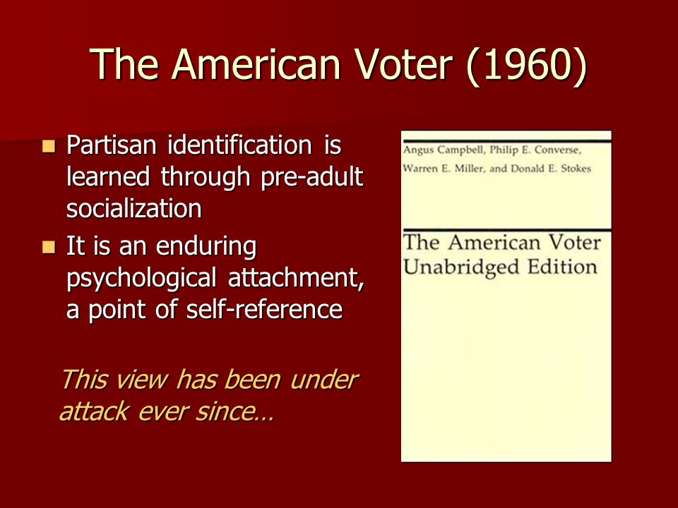 The American Voter (1960) Partisan identification is learned through pre-adult socialization.