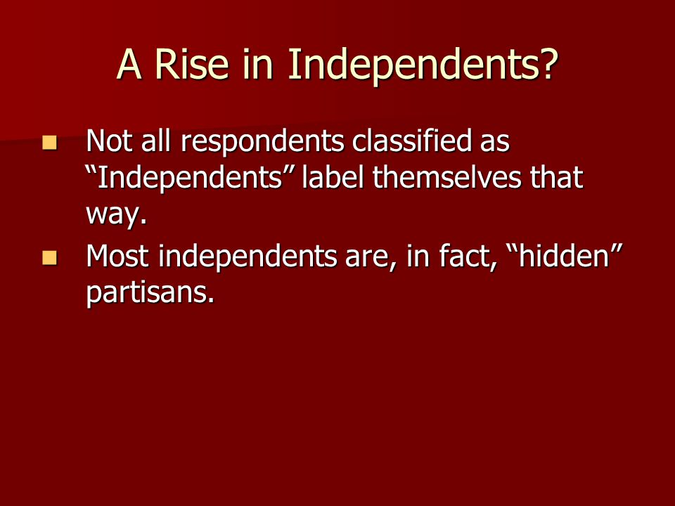 A Rise in Independents Not all respondents classified as Independents label themselves that way.