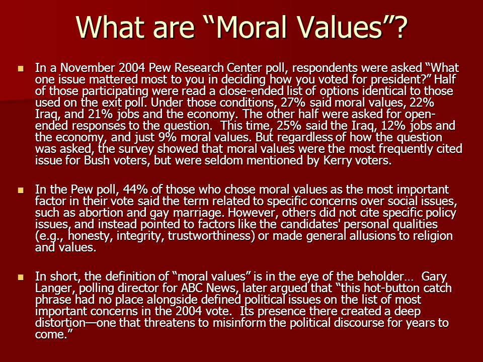 What are Moral Values