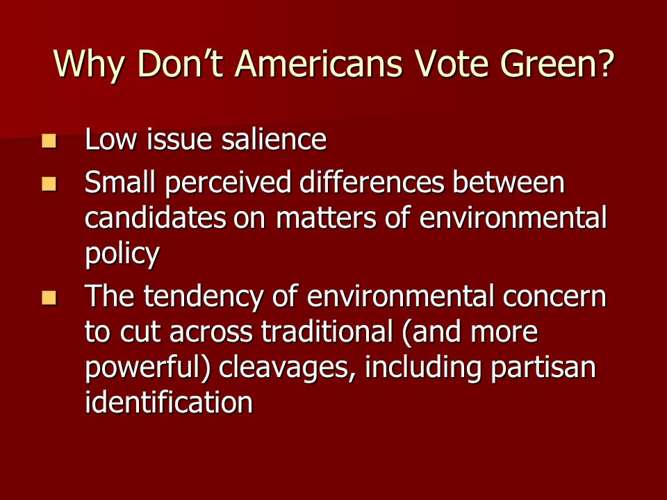 Why Don't Americans Vote Green